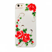 iCover панель для iPhone 5 Hand Printing Sweet Rose, бело-красный IP5-HP/W-SR/R